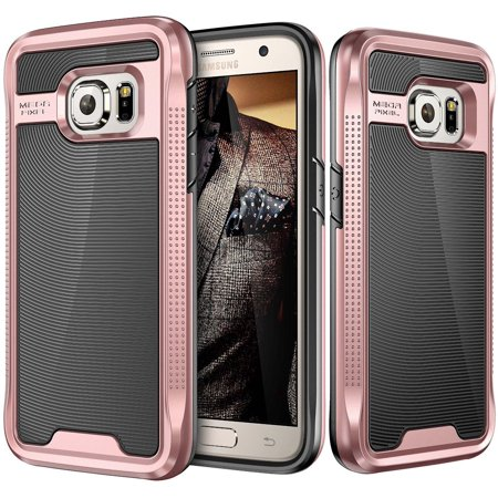 Galaxy S7 Case [NOT FOR S7 EDGE] E LV Galaxy S7 - Hybrid [Scratch/Dust Proof] Armor Defender Slim Shock-Absorption Bumper Case for Samsung Galaxy S7 - [BLACK/ROSE - Hhi Armor Case