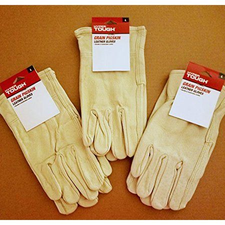 (Set of Three Pairs, Grain Pigskin Leather Work Gloves, Size Large)
