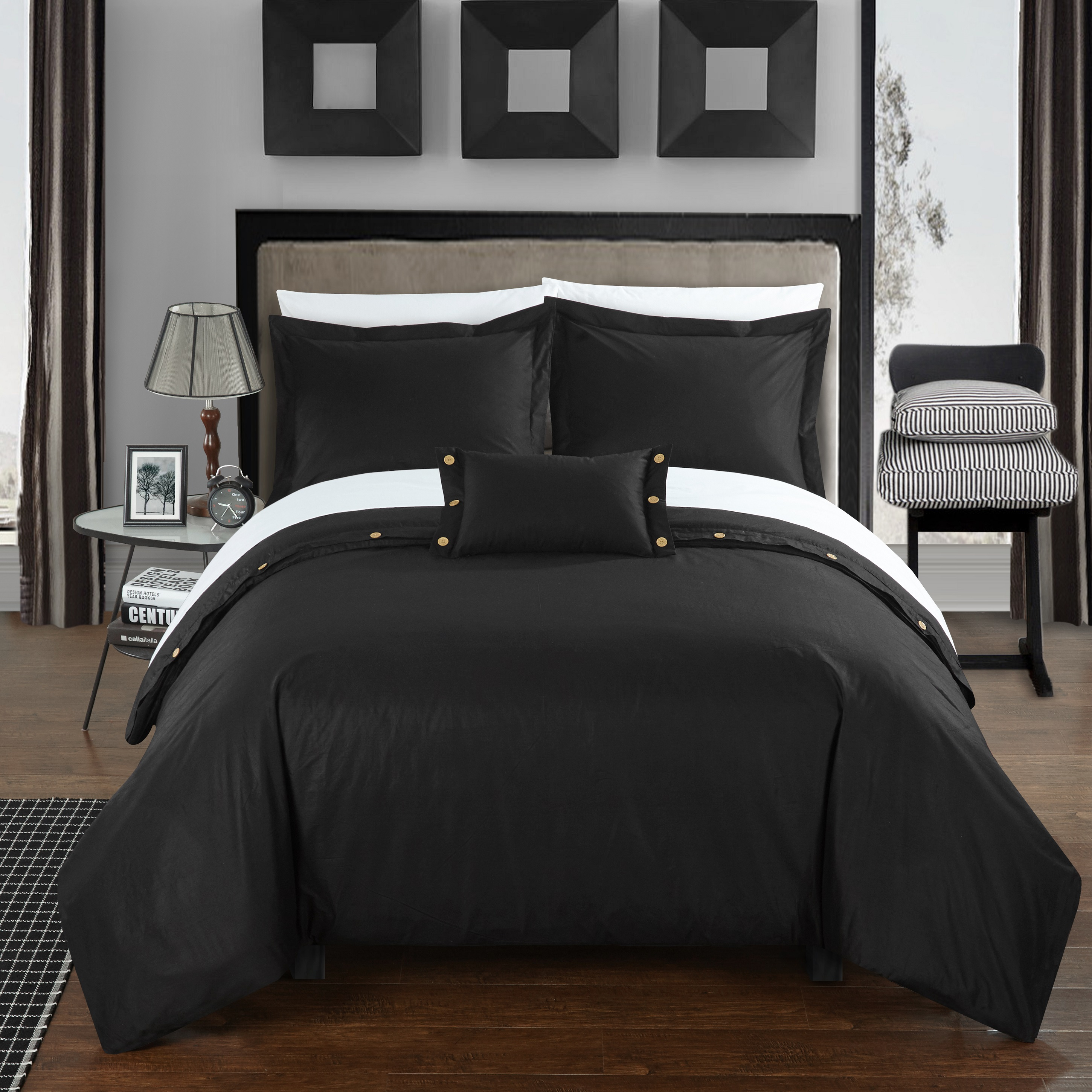 Chic Home 8-Piece Astrid 200 Thread Count COMBED FINISH 100% Cotton Twill Weave Decorative Button Closure Detail Queen Bed In a Bag Duvet Set Black With sheet set