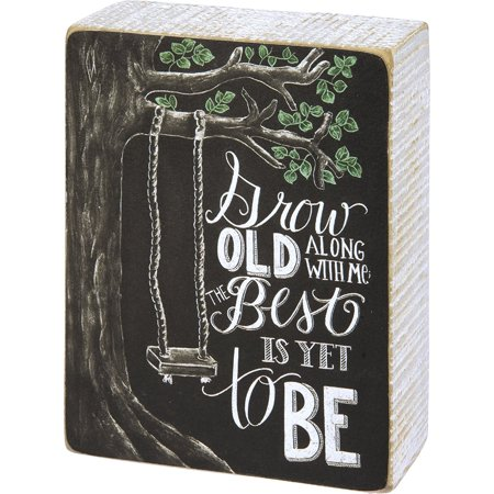 Grow Old Along with Me the Best Is Yet to Be - Wooden Box Sign - Primitives By Kathy - Tree Swing - Romantic - Gift Idea - Wedding