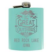 Red Rock Lake Iowa Laser Engraved Explore the Outdoors Souvenir 7 oz Stainless Steel 7 oz Flask Seafoam