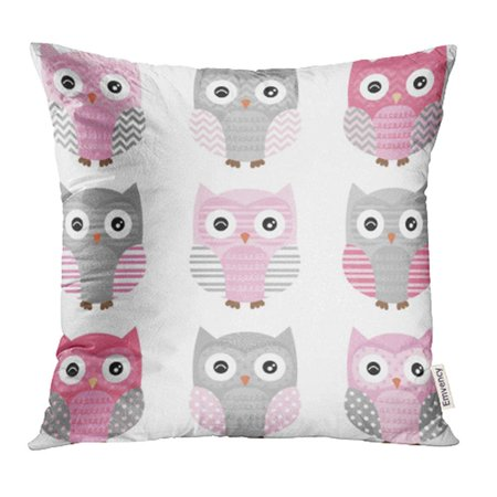 YWOTA Blue Chevron Pink and Grey Cute Owl Collections Family Nursery Happy Boy Nature Girl Pillow Cases Cushion Cover 16x16 inch