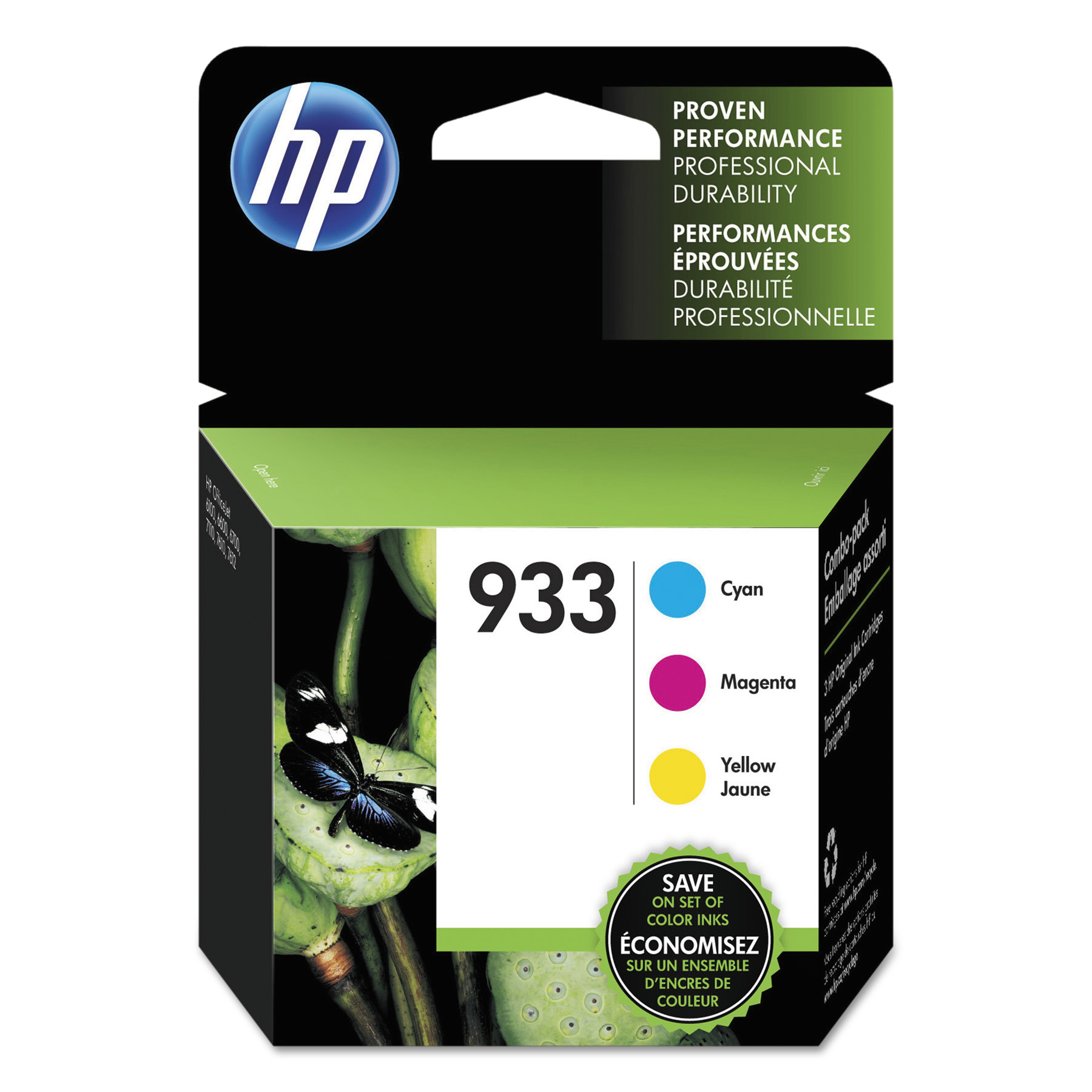 HP 933, (N9H56FN) 3-pack Cyan/Magenta/Yellow Original Ink Cartridges -HEWN9H56FN