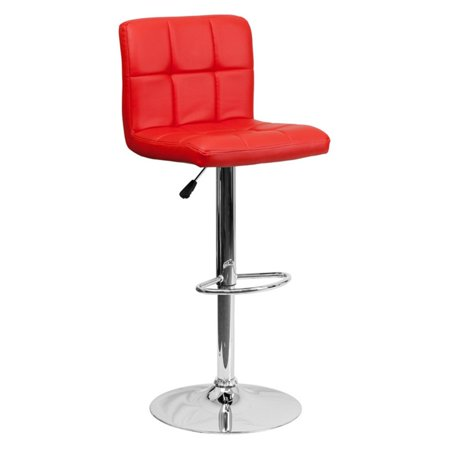 Flash Furniture Contemporary Quilted Vinyl Adjustable Height Barstool with Chrome Base, Multiple Colors ()