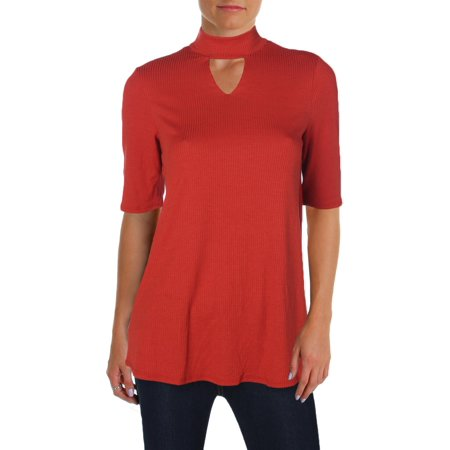 NY Collection Womens Mock Neck Cut Out Tunic Top Orange S