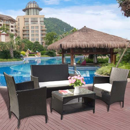 4pcs Patio Furniture Sets All Weather Indoor Outdoor Conversation Set Rattan Wicker Sofa with Cushion and Cofe Table Garden Yard Poolside Balcony