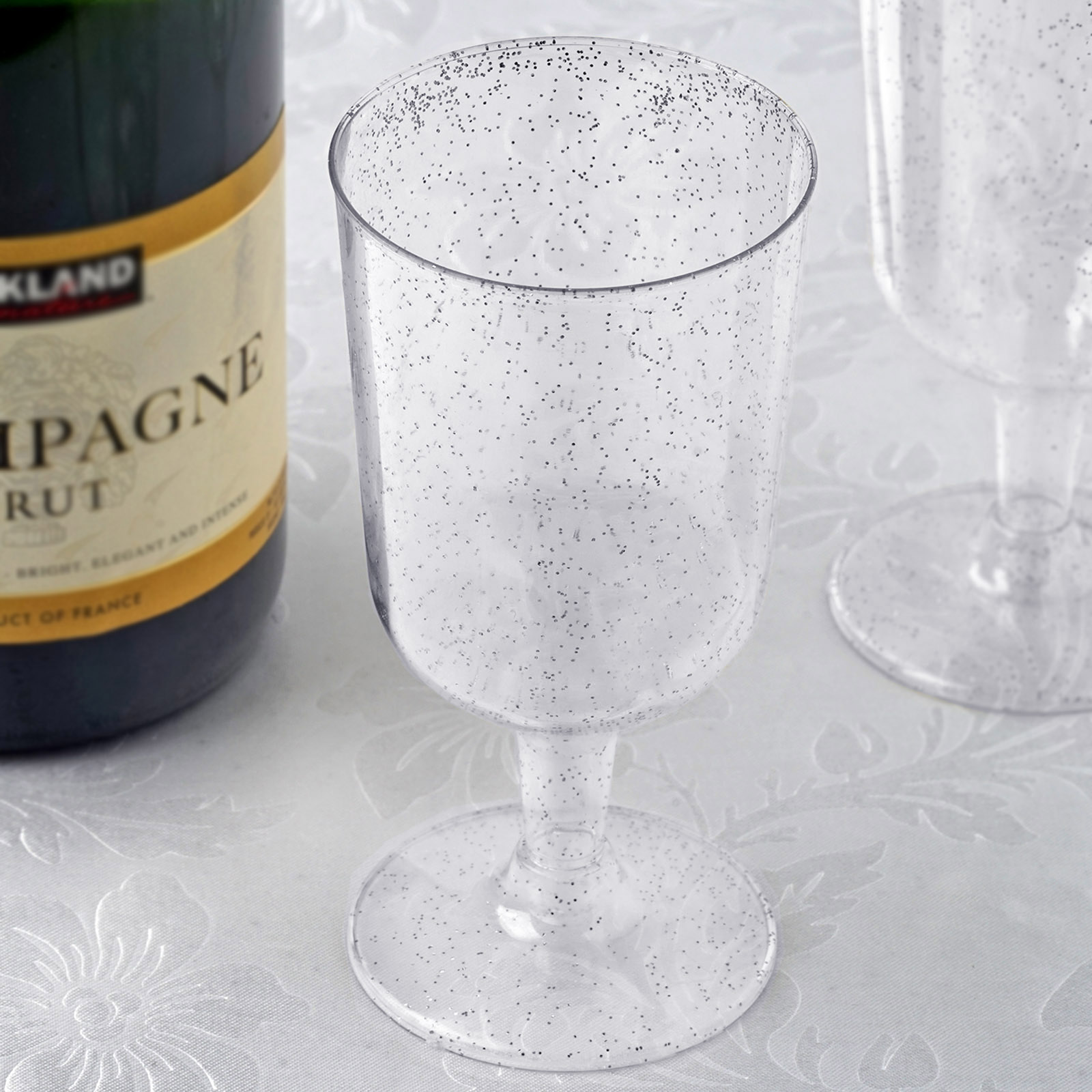 BalsaCircle Glittered Clear 12 pcs 7 oz Disposable Plastic Champagne Glasses - Wedding Reception Party Catering Tableware