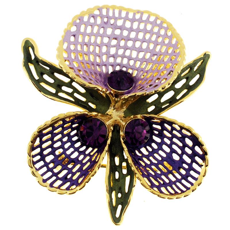 Purple Orchid Swarovski Crystal Flower PIn Brooch by