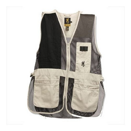Browning Trapper Creek Mesh Shooting Vest Outdoor Recreation - Sand/Black Medium