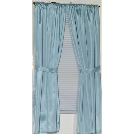 Royal Bath 100% Polyester Fabric Window Curtain With Two Panels And Two Tie Backs In Light Blue, Size 54 Wide X 34 - Bath Window Curtains