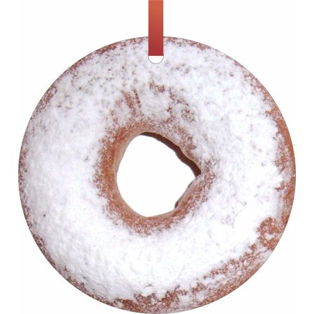 Powdered Donut Hanging Tree Ornament Flat Round - Shaped Christmas Holiday Hanging Tree Ornament Disc Made in the U.S.A.