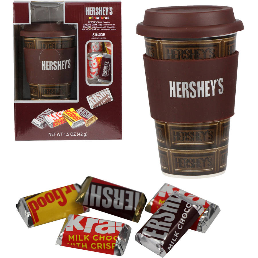 Hershey Travel Mug with Hershey Miniatures Holiday Gift Set, 2 pc
