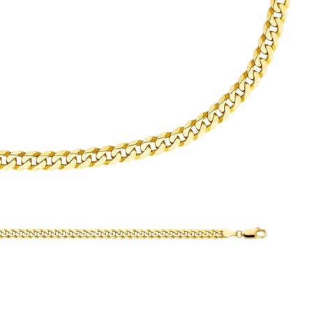 Cuban Necklace Solid 14k Yellow Gold Chain Flat Bevelled Curb Links Heavy Genuine, 4.8 mm - 20,22,24 inch