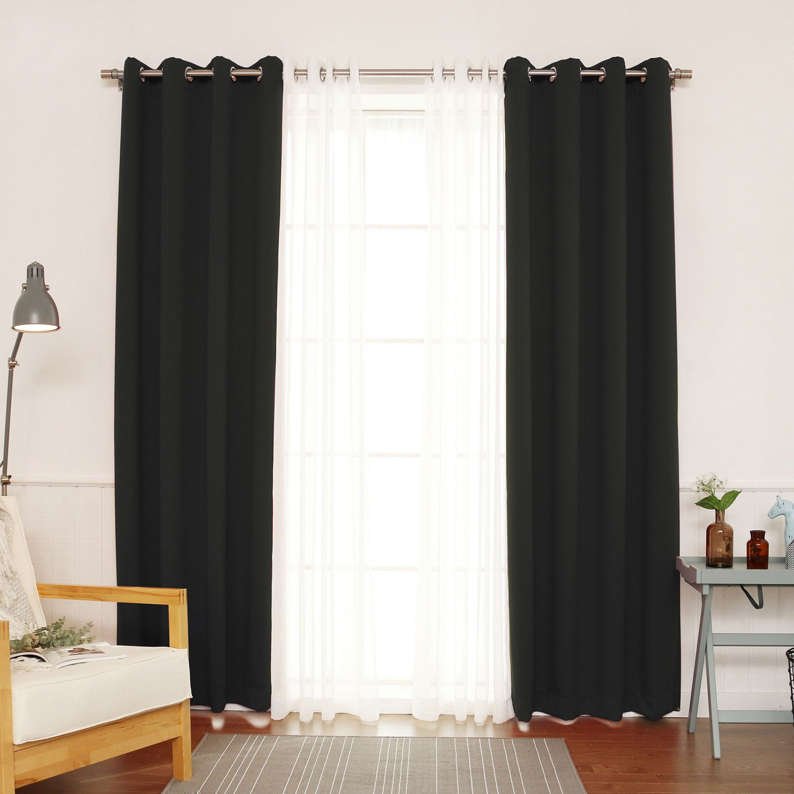 Best Home Fashion 4-Piece Sheer Faux Gauze Linen and Blackout Grommet Curtain Panel Set 52-in W 84-in L
