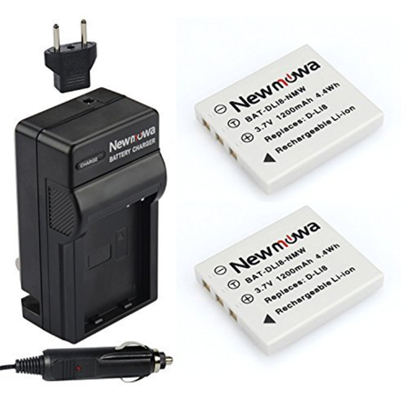 Newmowa D-Li8 Battery (2-Pack) and Charger kit for Pentax D-LI8, D-LI85, D-L18 and Pentax Optio A10, A20, A30, A36, A40, E65, L20, S, S4, S4i, S5i, S5n, S5z, S6, S7, SV, SVi, T10, T20, W10, W20, WP, W