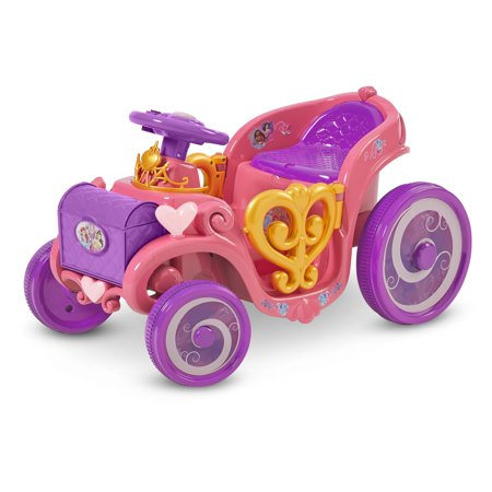 Disney Princess Enchanted Adventure Carriage Quad, 6-Volt Ride-On Toy by Kid Trax, ages 18 – 30 months, pink