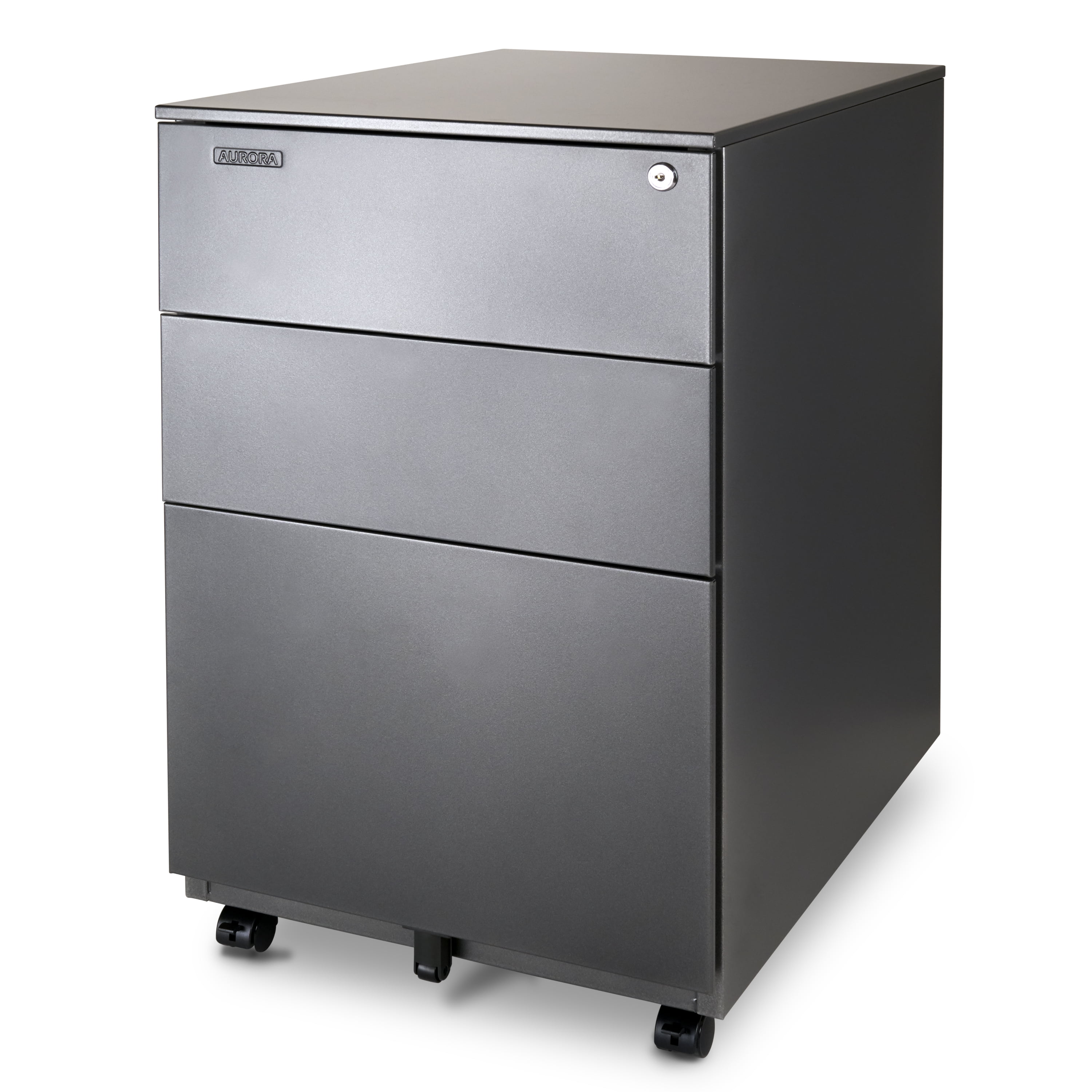 Aurora FC-103RT Modern Soho Design 3-Drawer Metal Mobile File Cabinet with  Lock Key/Fully Assembled Metallic Charcoal/Red Teak Mobile File Cabinets
