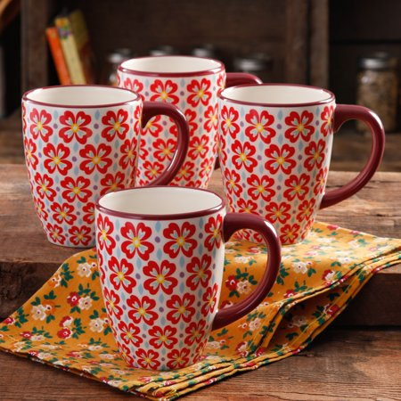 (The Pioneer Woman Retro Daisy Latte Mug, Set of 4)