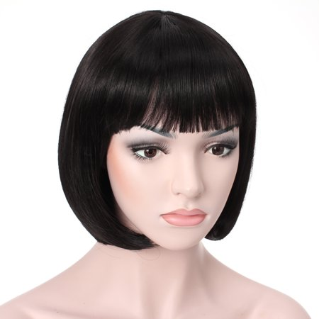"Short Black Bob Wig (OneDor® 10"" Short Straight Flapper Bob Cosplay Hair)"