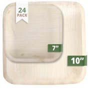 """Green Evolve 810017651412 Palm Leaf Set (24 Pack) 10"""" Dinner (12) 7"""" Salad Plates   Heavy Duty Ecofriendly Disposable Dinnerware Square, Light Brown"""