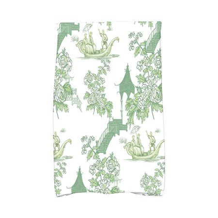 Chinese Kitchen (Simply Daisy, 16 x 25 inch, China Old, Floral Print Kitchen Towel, Green)