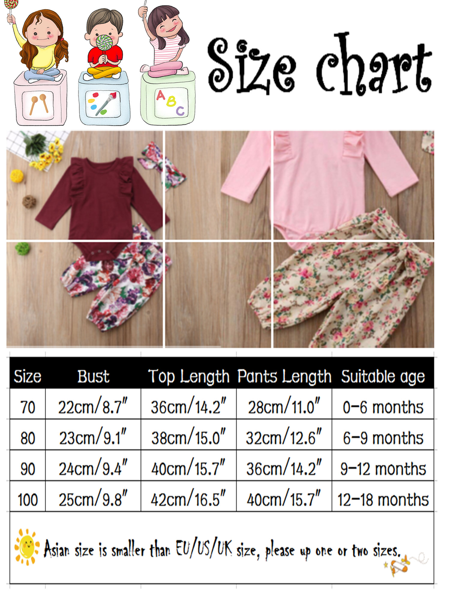 kaiCran Kids Baby Boys Girls Outfits Sets Long Sleeve Drink Milk Letter Print Tops and Cartoon Pants Lovely Clothes 1-4 Years