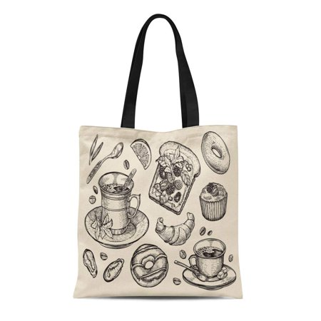 Croissant Halloween Food (SIDONKU Canvas Bag Resuable Tote Grocery Shopping Bags Fast Food Sandwich Dessert Coffee Cup Tea Donut Croissant Muffin Tote)