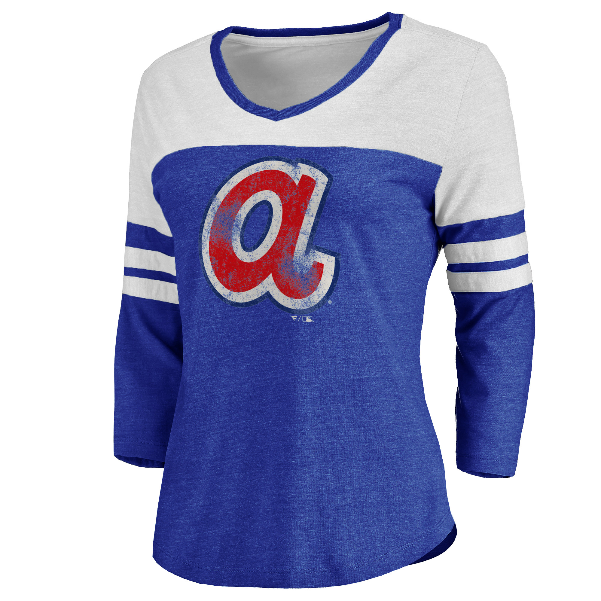 Atlanta Braves Women's Cooperstown Two Tone Three-Quarter Sleeve Tri-Blend T-Shirt - Royal/White
