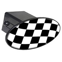 "Checkered Flag, Racing Nascar 2"" Oval Tow Trailer Hitch Cover Plug Insert"