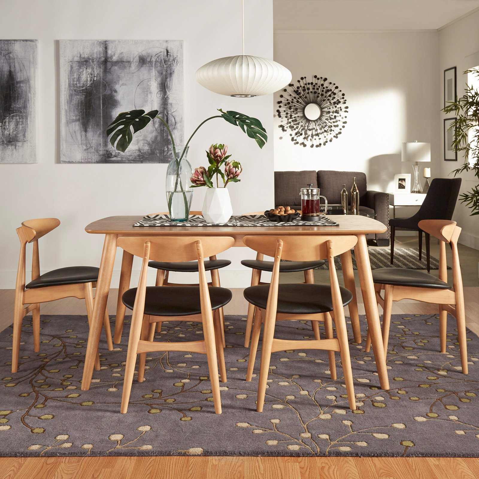 Mid Century Dining Set: Chelsea Lane Mid Century Modern 7 Piece Dining Set With