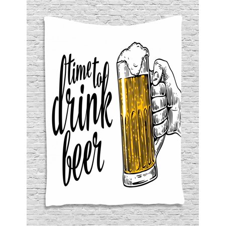 Lifestyle Tapestry, Time to Drink Beer Quote with a Man Hand Holding the Mug Toast Illustration, Wall Hanging for Bedroom Living Room Dorm Decor, Yellow Black, by