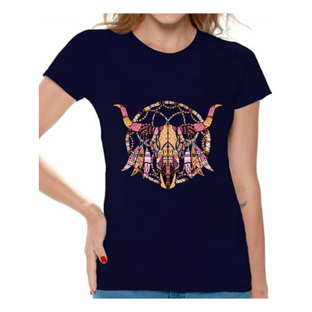 Awkward Styles Mosaic Cow Skull Tshirt for Women Cow Skull Shirt Sugar Skull T Shirt for Women Day of the Dead Gifts for Her Dia de los Muertos Outfit Women
