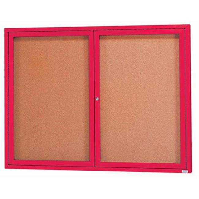 Aarco Products DCC4860RIR 2-Door Illuminated Enclosed Bulletin Board - Red