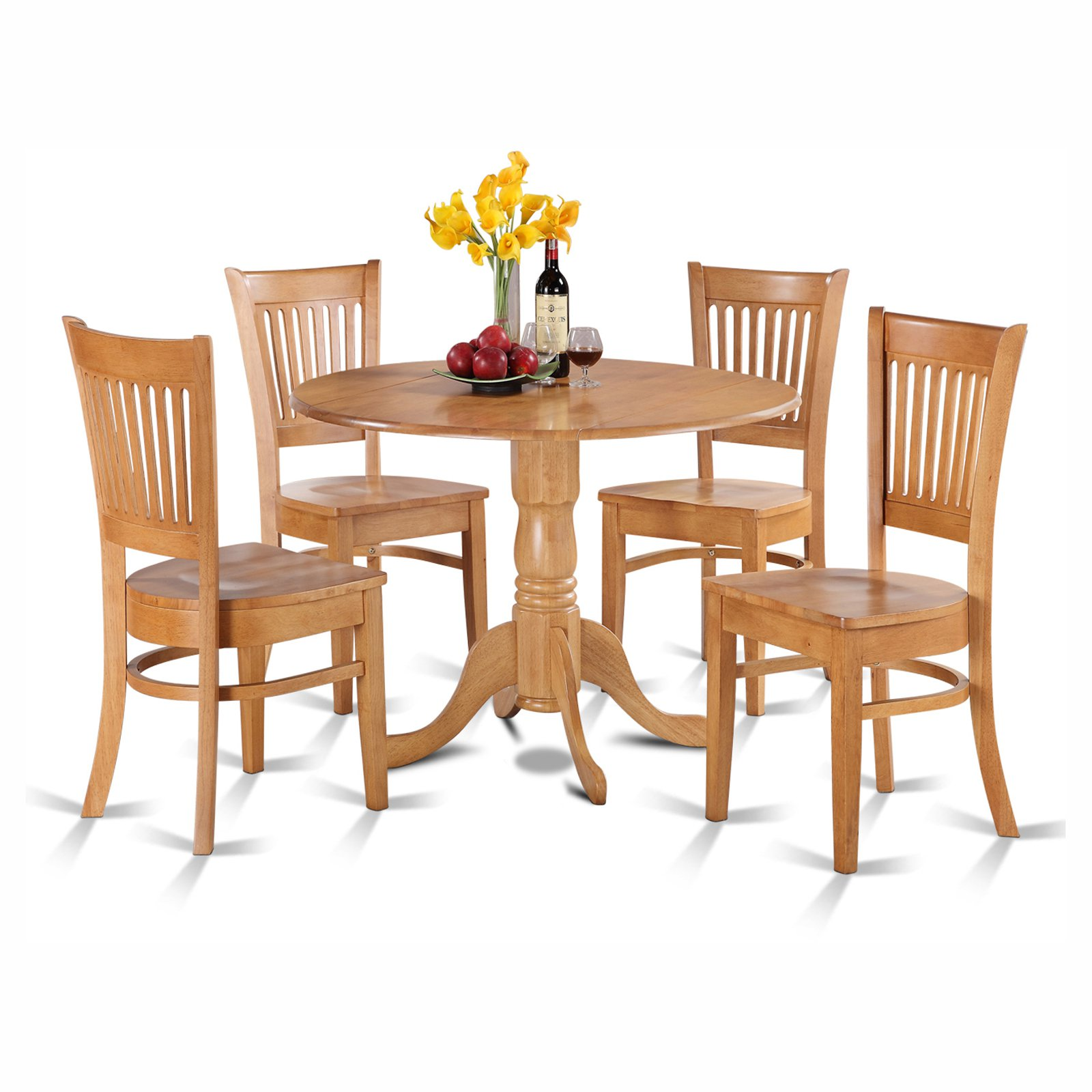 East West Furniture Dublin 5 Piece Drop Leaf Dining Table Set with Vancouver Wooden Seat Chairs