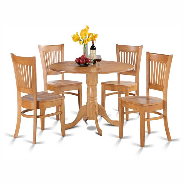 Silver Dining Table And Chairs, East West Furniture Dublin 5 Piece Drop Leaf Dining Table Set With Vancouver Wooden Seat Chairs Walmart Com Walmart Com