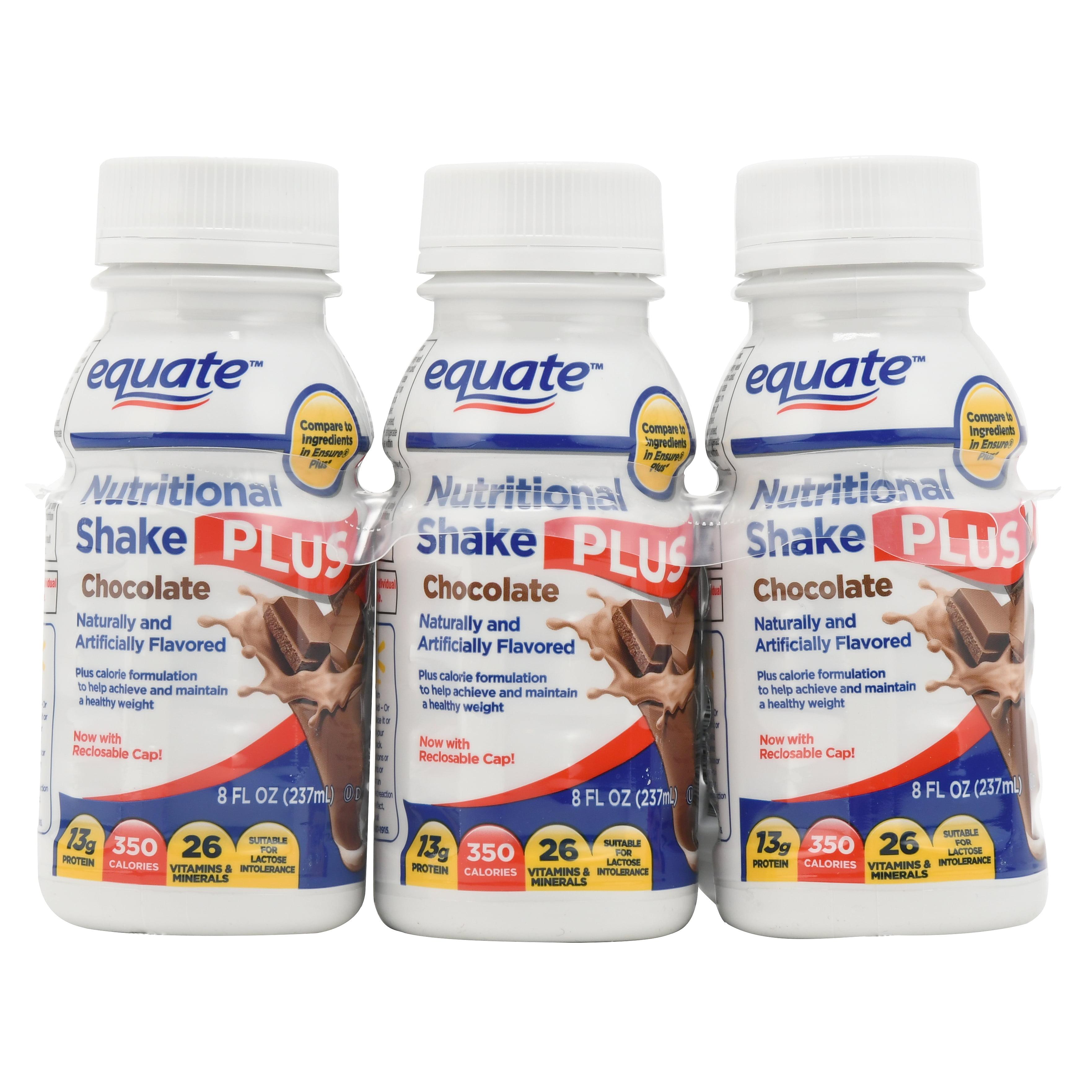 Equate Nutritional Shake Plus, Chocolate, 8 oz, 6 Ct