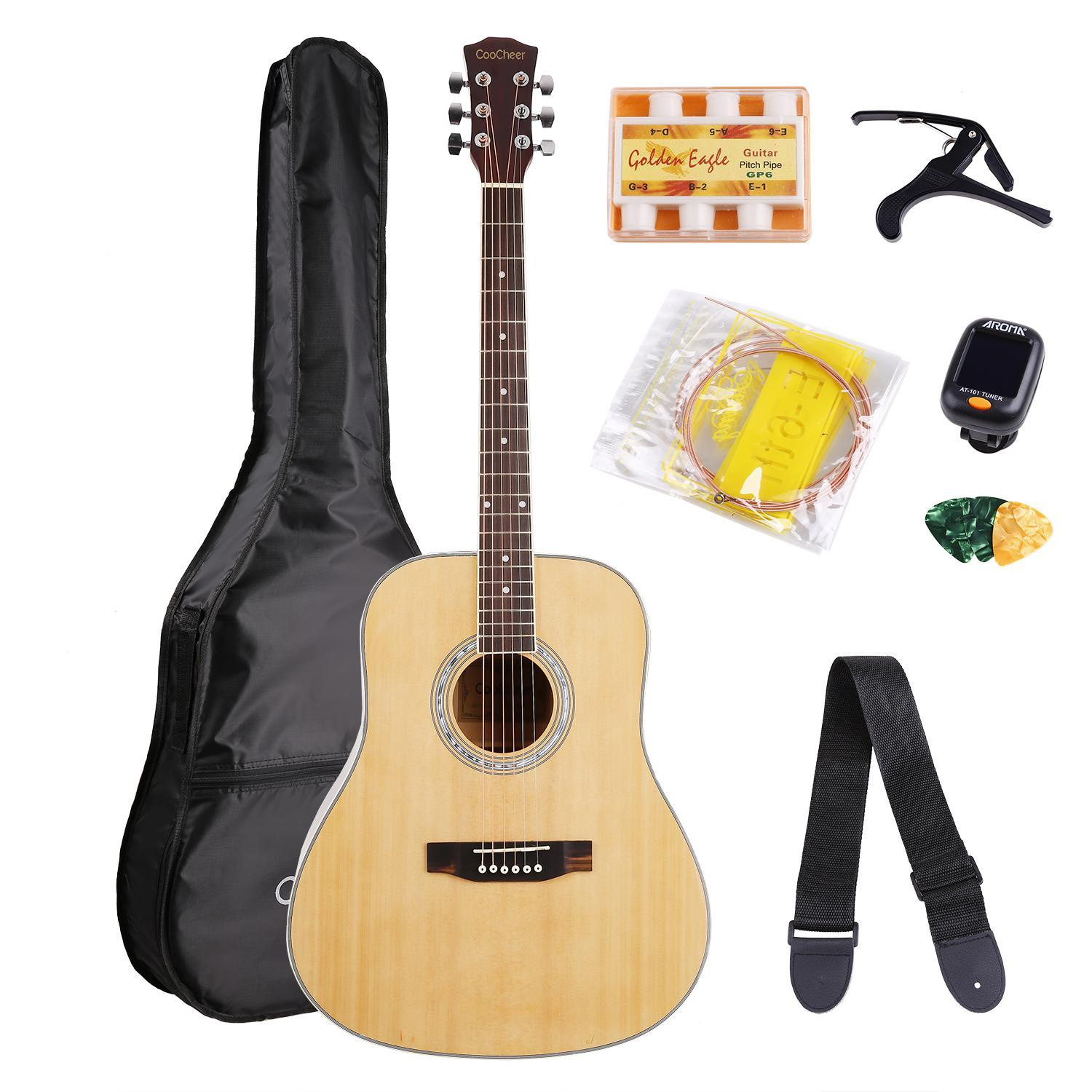 41'' Wood Acoustic Guitar 41inch Beginner Training Guitar with Bag Strap Pick