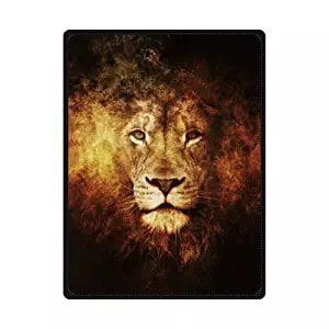 CADecor The Head of Cool Lion Love Wild Animal Fleece Throw Blanket 58x80