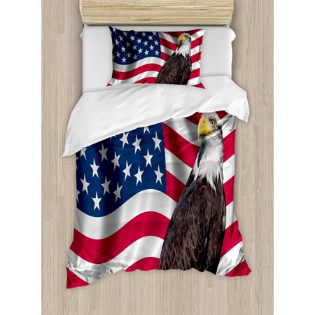 Eagle Duvet Cover Set, Patriotic Symbols of the Land with an American Flag with a Bald Eagle Nationalism, Decorative Bedding Set with Pillow Shams, Multicolor, by Ambesonne