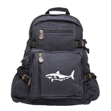 Great White Shark Silhouette Army Sport Heavyweight Canvas Backpack Bag