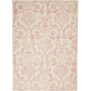 Pinewood Grove Bliss Damask Vintage Victorian Transitional Farmhouse Area Rugs, Ivory