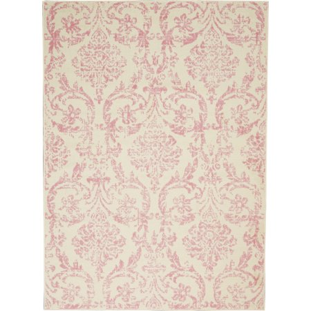 Walmart Bliss Farmhouse Damask Ivory/Pink Area Rug