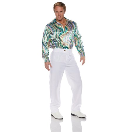 Disco Mens Adult Green Gold Swirl 70S Costume Accessory Shirt - Mens Disco Shirt