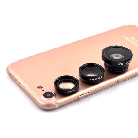 3 in 1 Fish Eye Wide Angle Macro Micro Fashion Camera Lens Kit Black for Phone](Halloween Black Eye Contact Lenses)
