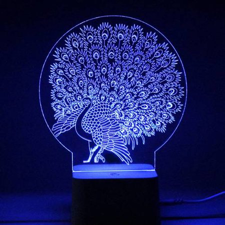 VicTsing LED 3D Illuminated Lamp Abstraction Optical Illusion Desk Night Light with Remote Controller (Peacock) - Peacock Spider For Sale