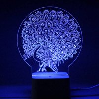 VicTsing LED 3D Illuminated Lamp Abstraction Optical Illusion Desk Night Light with Remote Controller (Peacock)