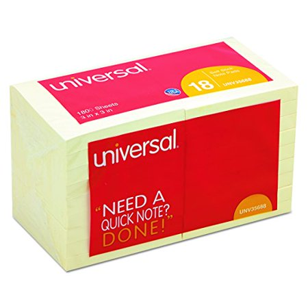 Universal 35688 Standard Self-Stick Notes  3 x 3  Yellow  18 100-Sheet Pads Pack - image 1 of 3