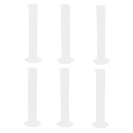 100ml Clear Plastic Graduated Cylinder Lab Liquid Container 6 - Clear Plastic Cylinder