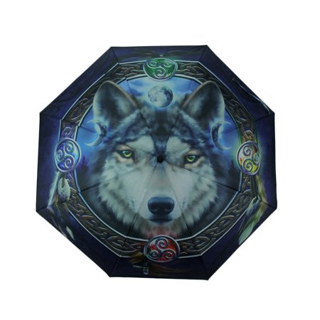 Brigid Ashwood Celtic Wolf Guide Print 38 Inch Collapsible Mini Travel Umbrella - Mini Umbrellas