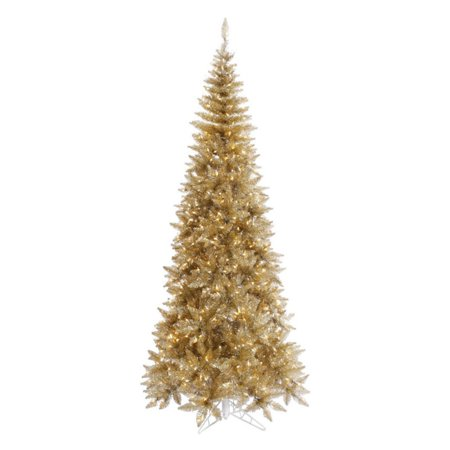Vickerman Pre Lit 5 5' Tinsel Champagne Slim Artificial Christmas  - Vickerman Pre Lit Christmas Trees